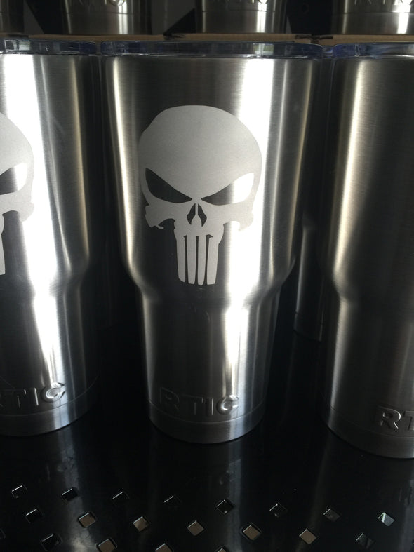 Rtic Tumbler 30oz with engraved Punisher logo