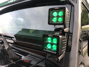 Dual RGB Pod cube lights with JK windshield brackets & wiring harnesses