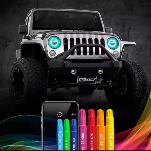"7"" RGB LED Jeep Headlights XK Glow Bluetooth App Controlled Kit w/ Switchback Feature"
