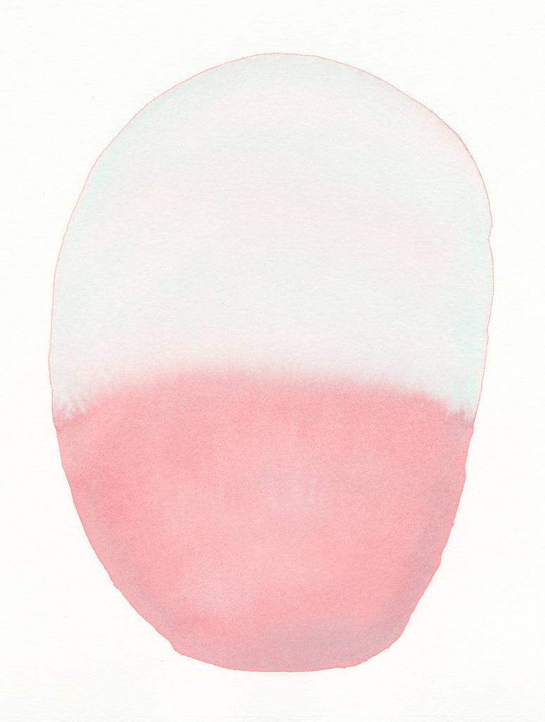Soft Pink Blue Oval | Watercolor by Malissa Ryder