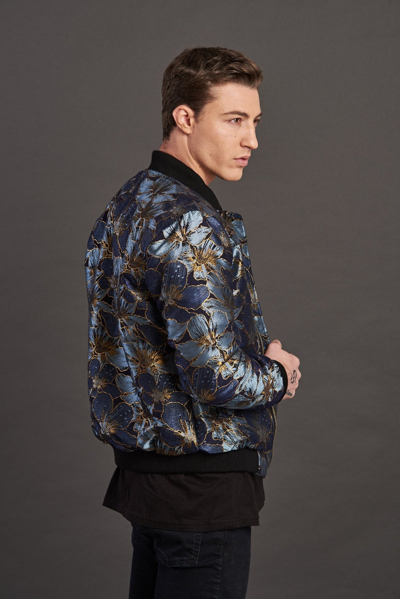 Gold Floral Jacquard Quilted Bomber Jacket
