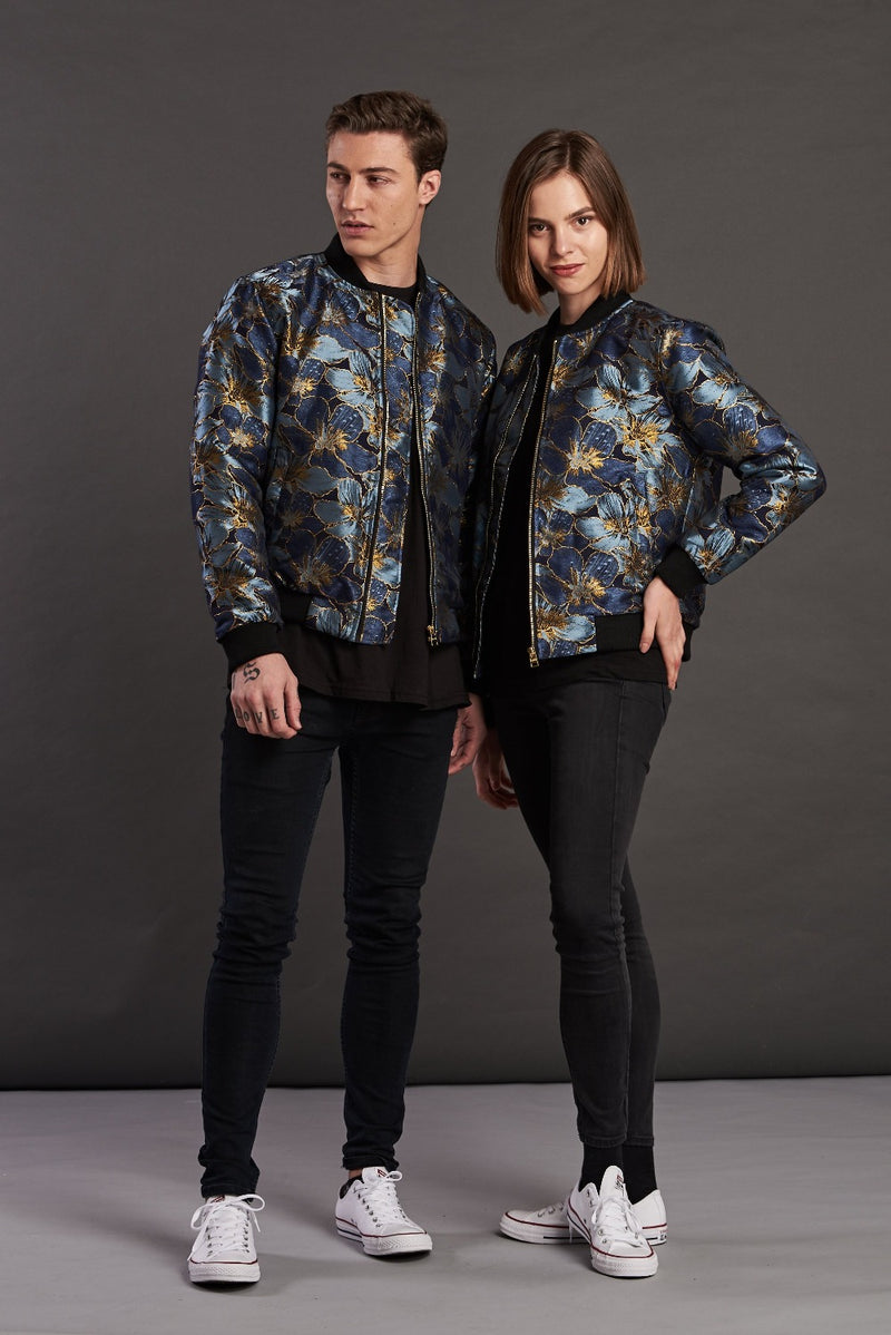 Gold Floral Bomber Jacket Worn by male female models upscale Urban fashion japanese print