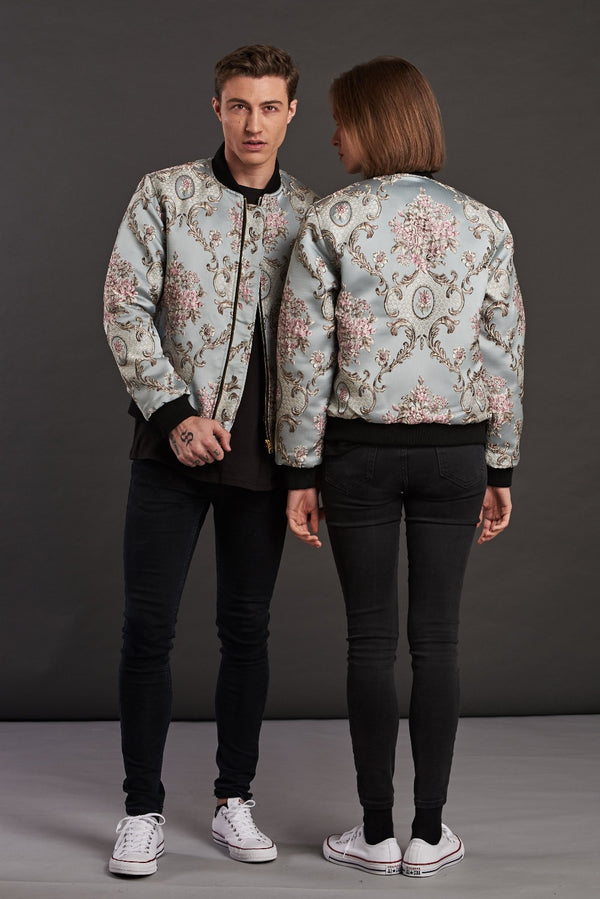 French Baroque Jacquard Quilted Bomber Jacket