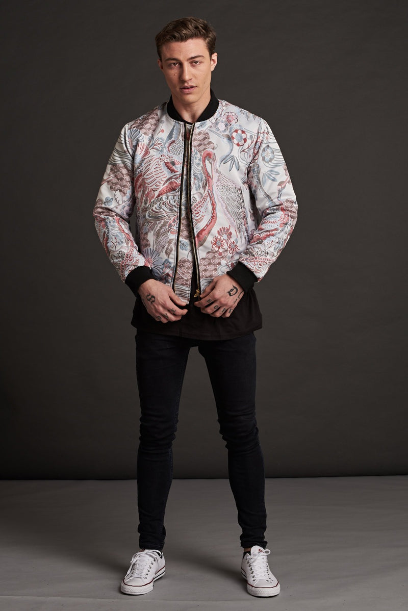 Japanese Stone Garden Quilted Bomber Jacket
