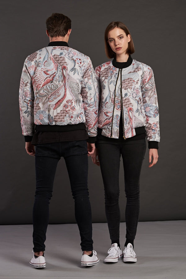 statement japanese stone garden quilted bomber jacket for men and women