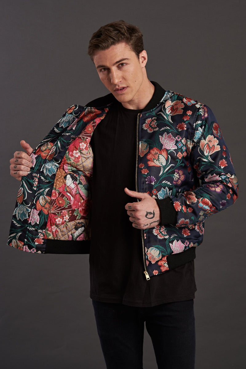 Navy Floral Jacquard Quilted Bomber Jacket