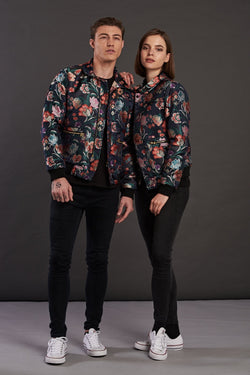 Navy Floral Jacquard Quilted Short Jacket