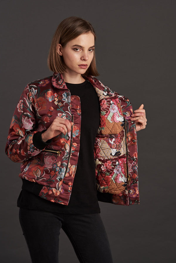 Burgundy Floral Jacquard Quilted Short Jacket