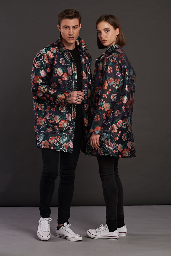 Navy Floral Jacquard Quilted Trench Coat