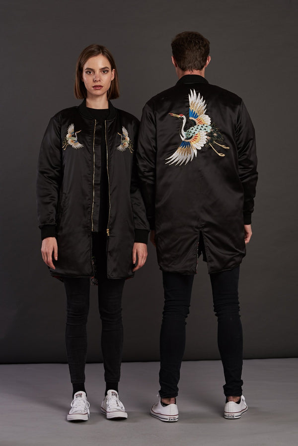 longline crane embroidered bomber jacket for men and women
