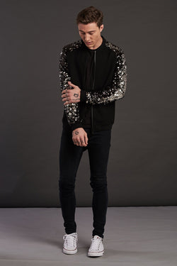 Black Sequin Bomber Jacket