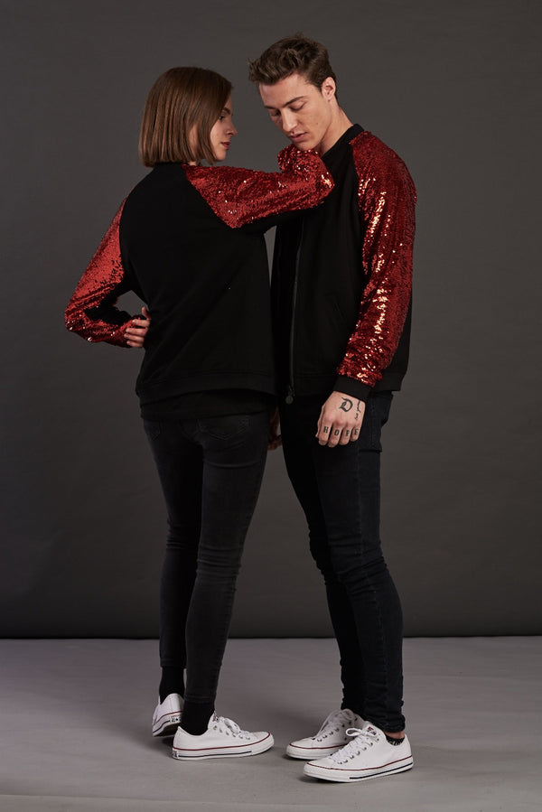 statement red sequin bomber jacket for men and women