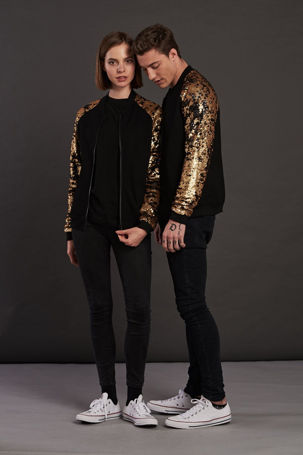 Statement gold sequin bomber jacket for men and women