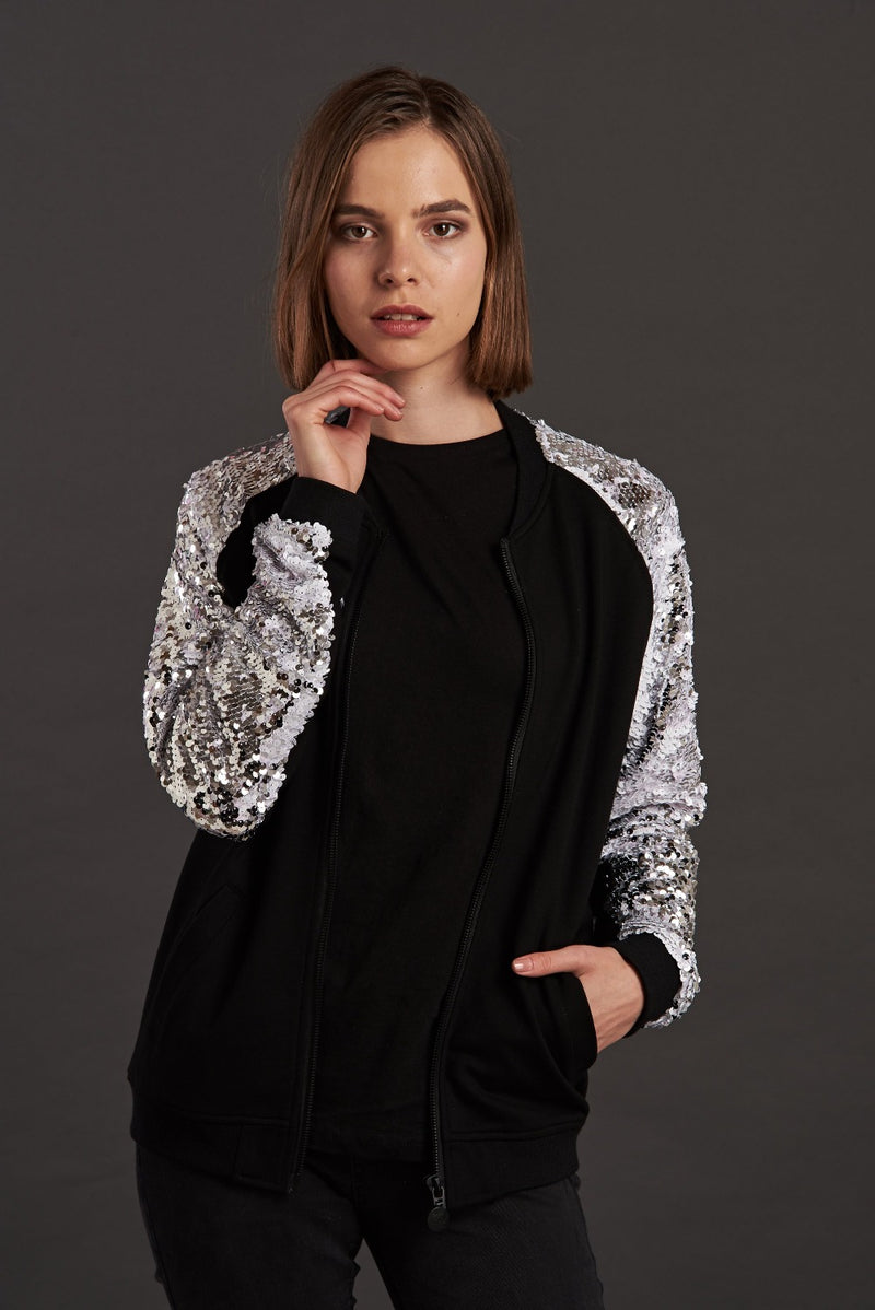 Silver Sequin Bomber Jackets
