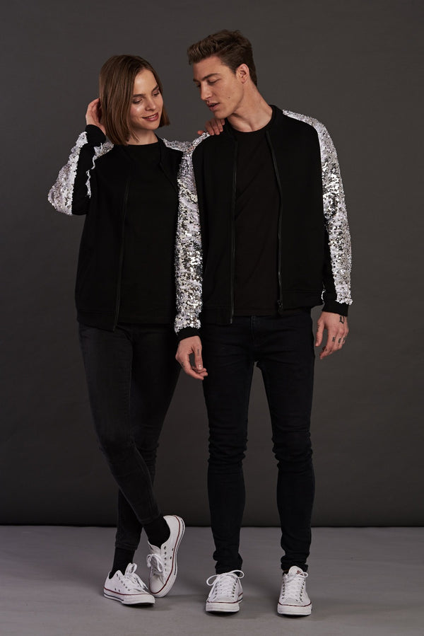 Statement Silver Sequin bomber jacket for men and women