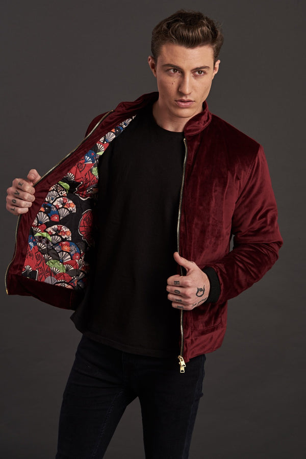 Velvet Biker Statement Bomber Jacket for men