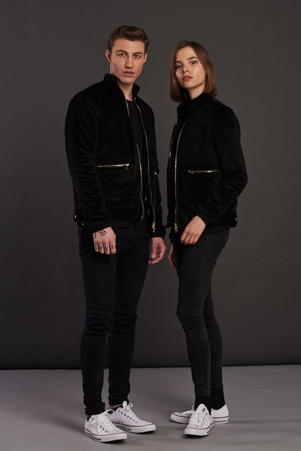 Velvet Biker Statement Bomber Jacket for men and women