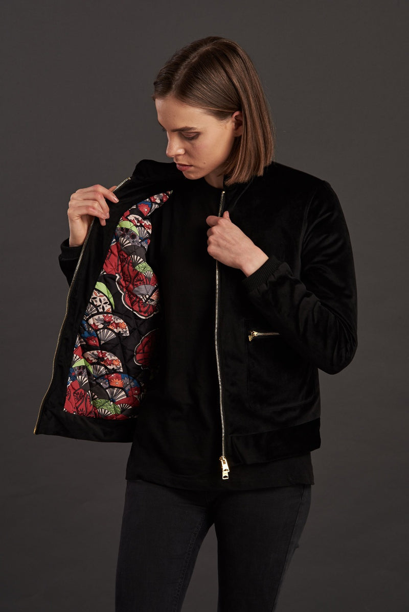 Velvet Black Quilted Biker Jacket