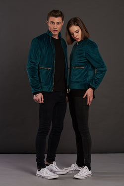 Velvet Emerald Quilted Biker Jacket