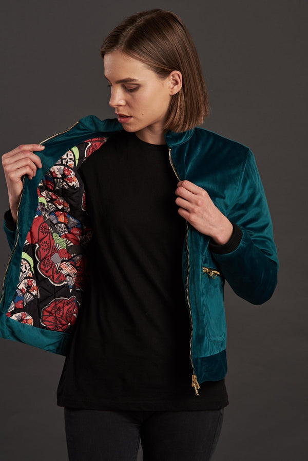Velvet Biker Statement Bomber Jacket for women