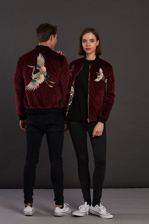 velvet reversible Statement bomber jacket for men and women