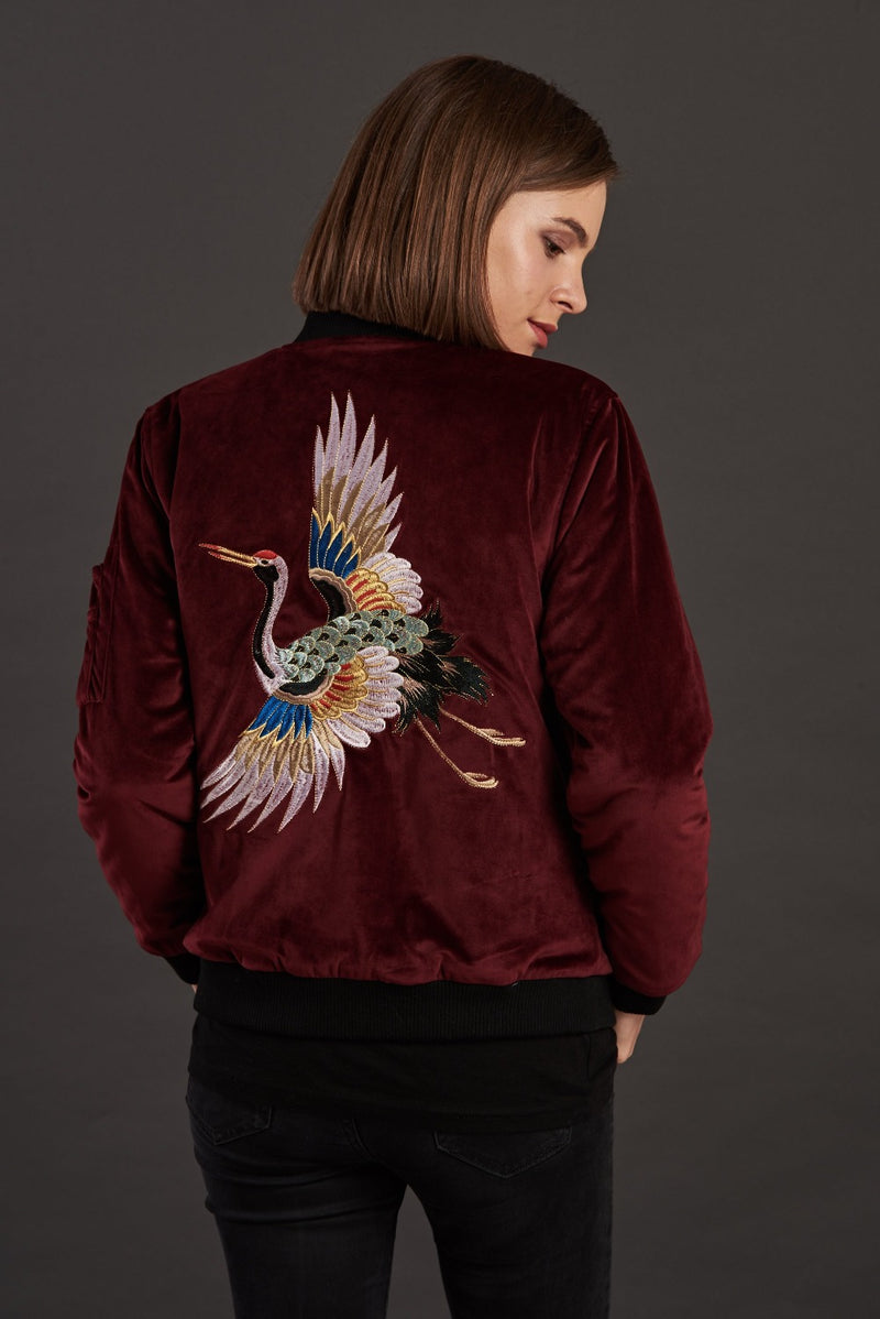 velvet reversible Statement bomber jacket for women