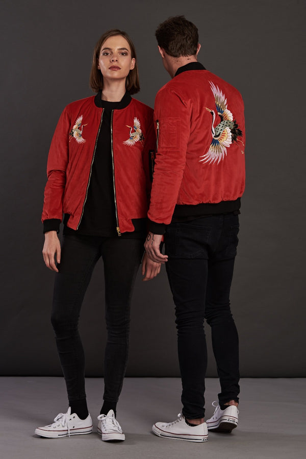 Reversible Red Velvet Sukajan Bomber Jacket