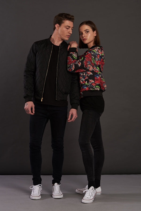 Reversible Quilted Statement bomber jacket for men and women