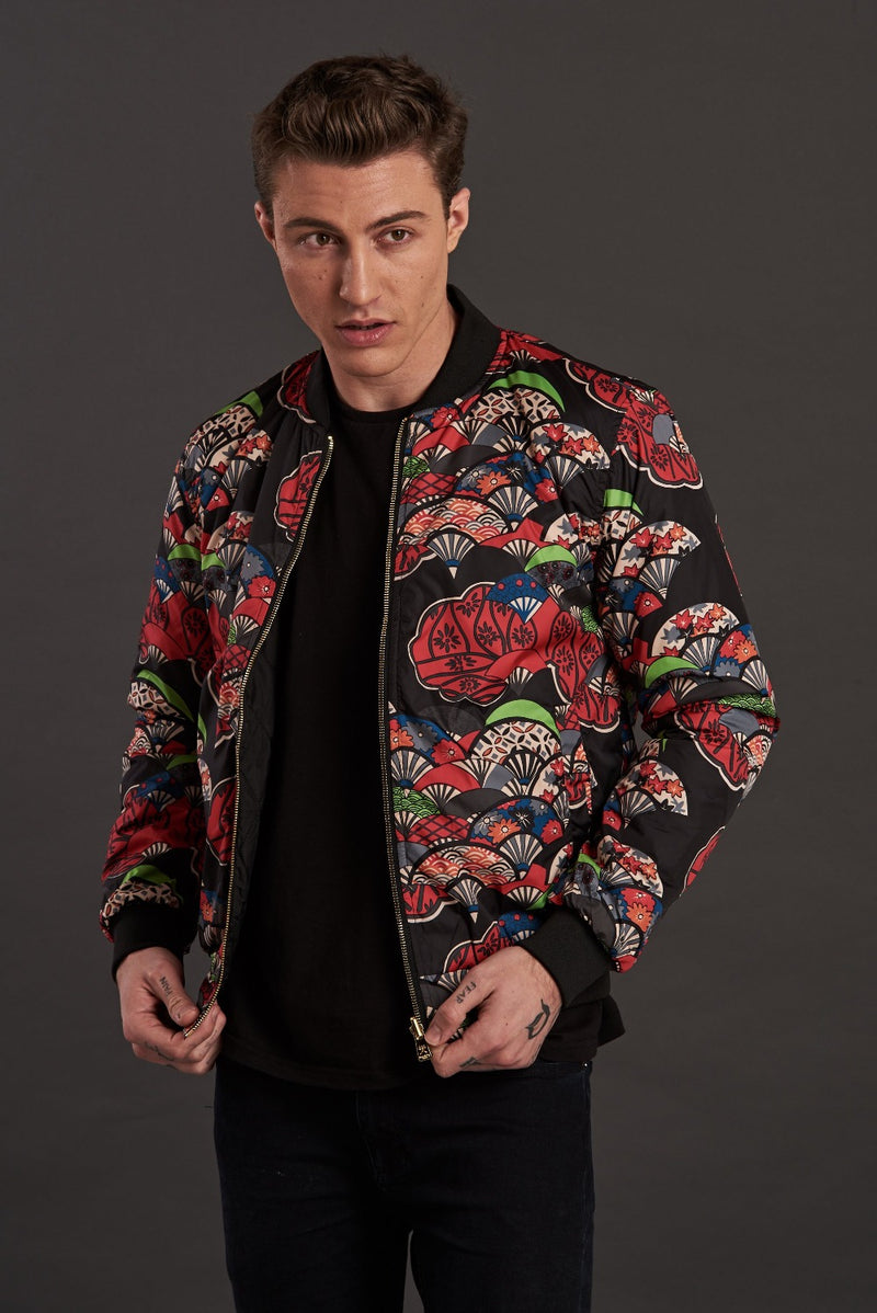 Reversible Red Fan Quilted Bomber Jacket