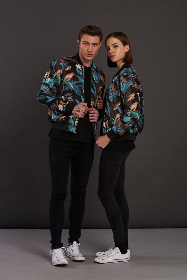 Reversible Floral Print Quilted Bomber Jacket
