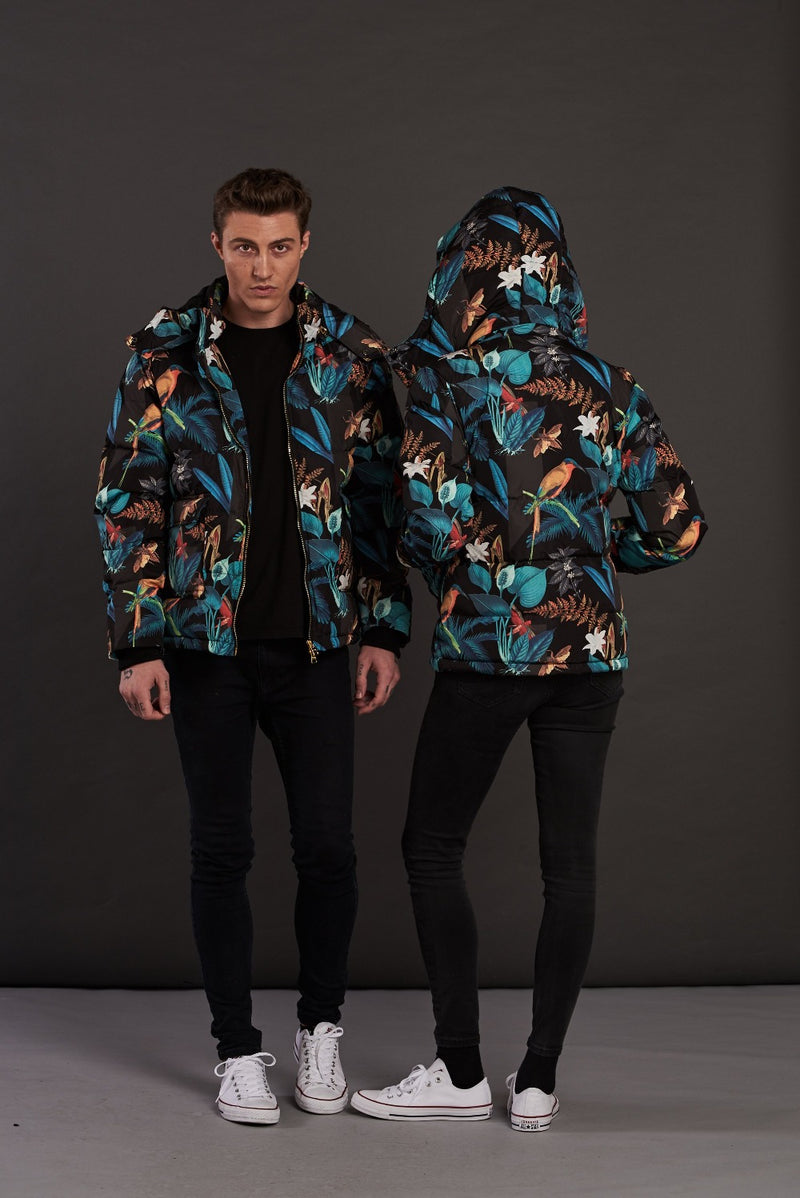 Jungle Floral Puffa Jacket with Detachable Hood