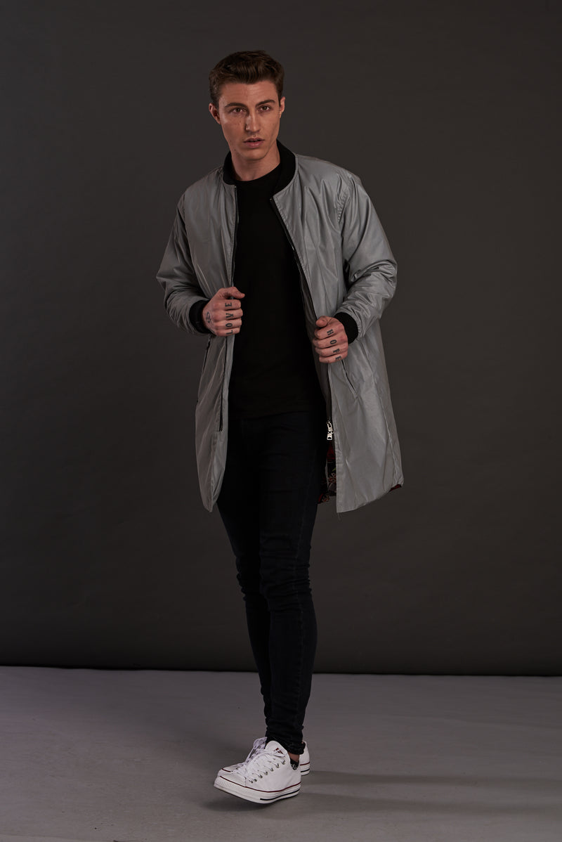 Reflective Longline 3M Quilted Bomber Jacket