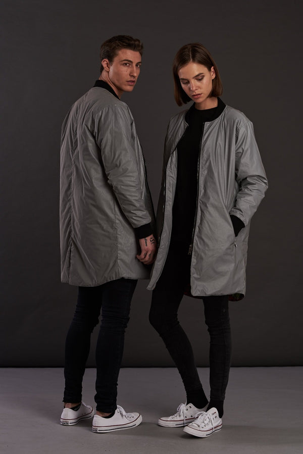 Reflective Longline bomber Jacket for men and women