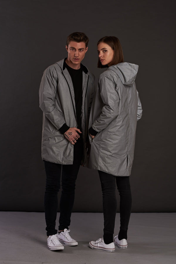 Reflective Longline bomber Jacket with hoodie for men and women
