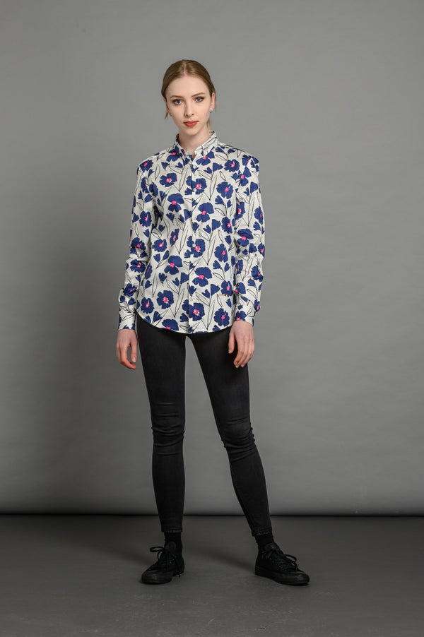 Slim fit floral shirt for women