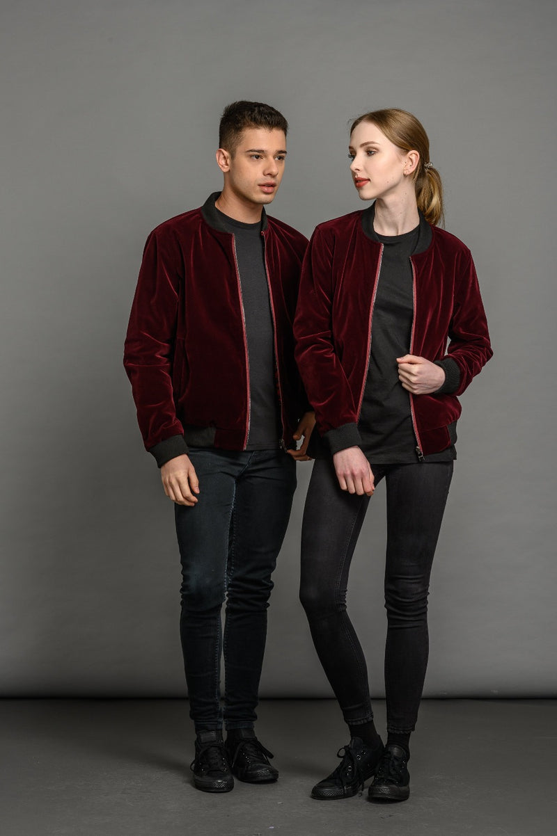 Reversible Velvet Burgundy Bomber Jacket