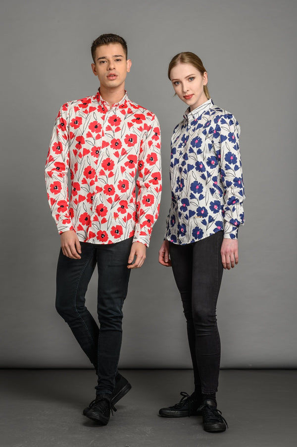 Slim fit floral shirt for men and women