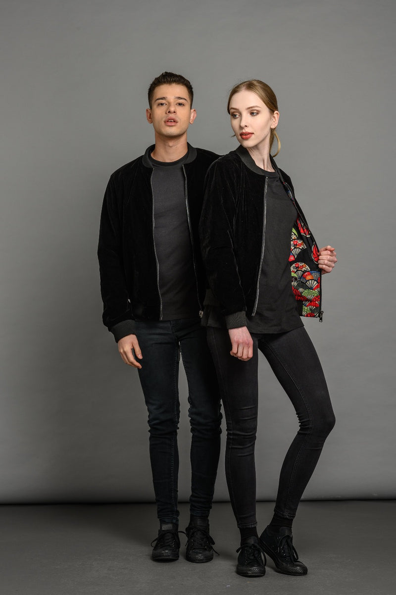 Reversible Velvet Black Bomber Jacket