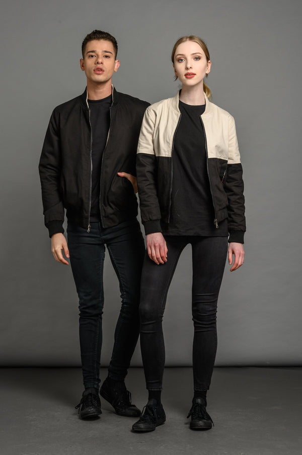 reversible black bomber jacket for men and women