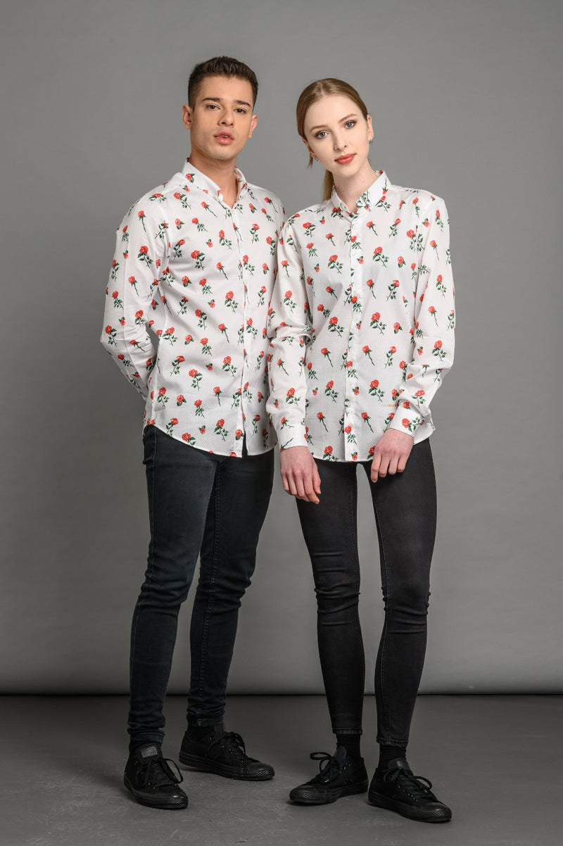 Roses Print Slim Fit Shirt White