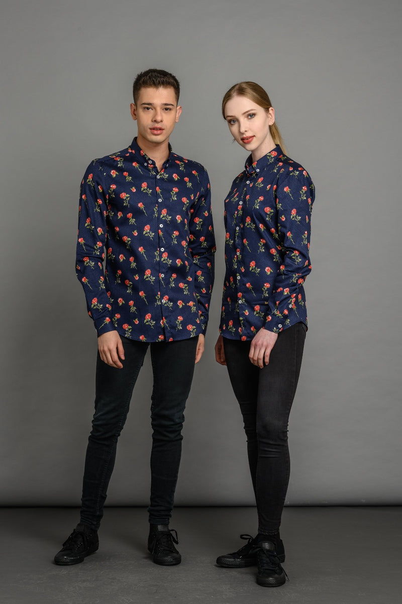 Roses Print Slim Fit Shirt Navy