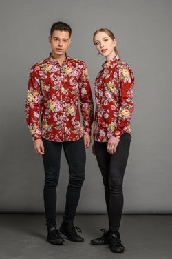 statement floral print slim fit shirt for men and women