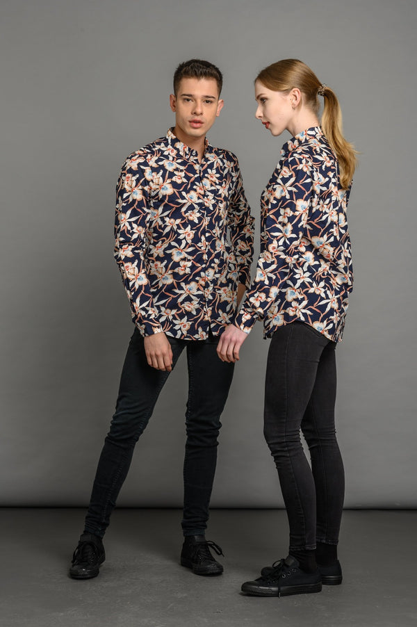 Floral Print Slim Fit Shirt Navy