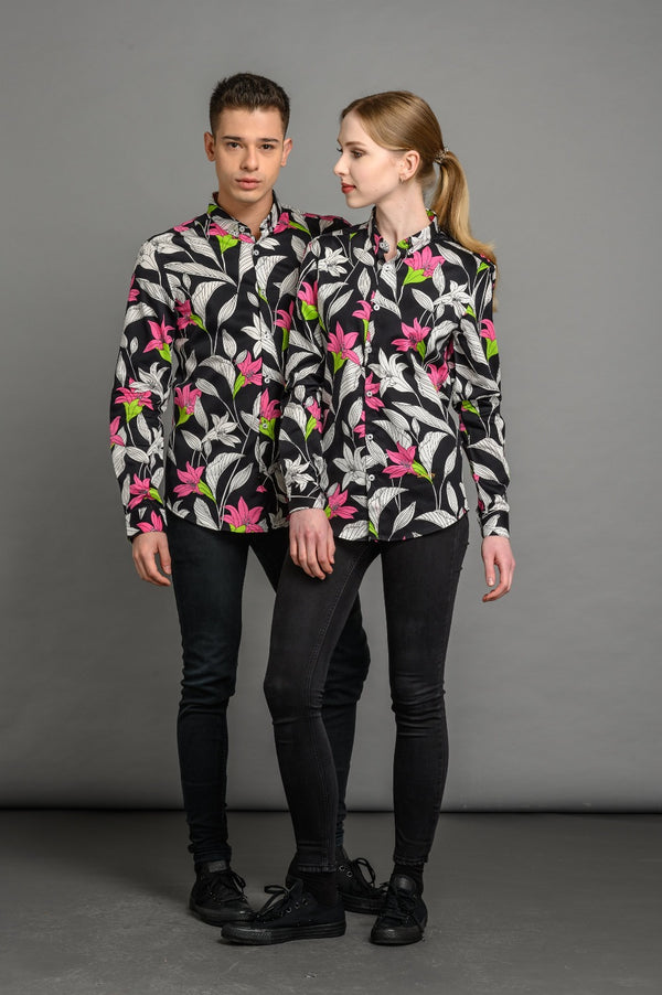 Lillies Print Slim Fit Shirt Black