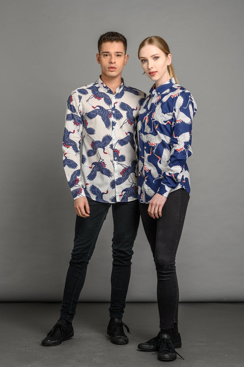 Flying Crane Print Slim Fit Shirt Blue