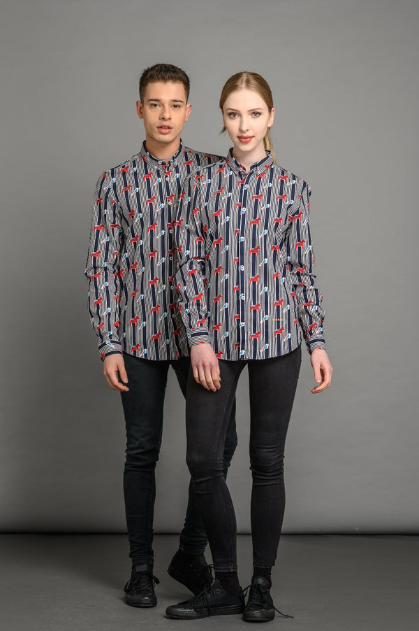 Dala Horses Print Slim Fit Shirt