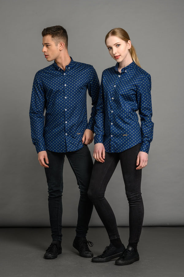Polka Dot Print Slim Fit Shirt Navy