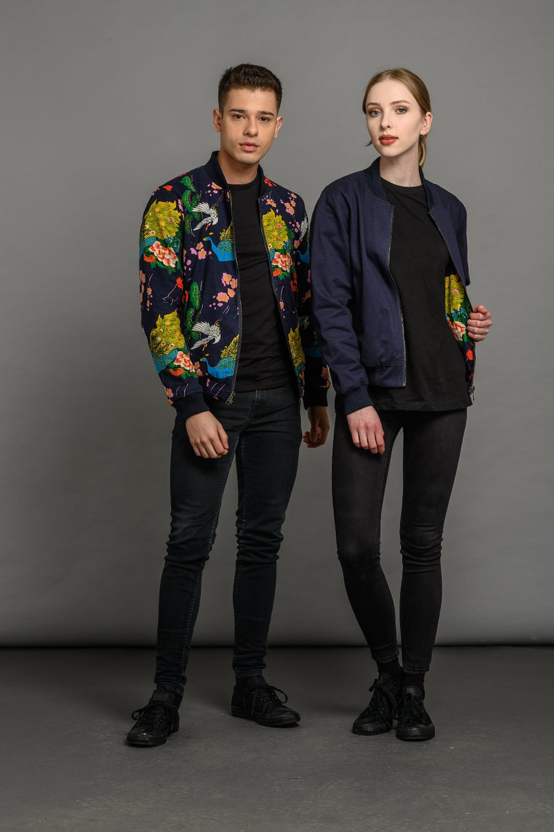 soot and ty unisex reversible peacock/navy bomber jacket