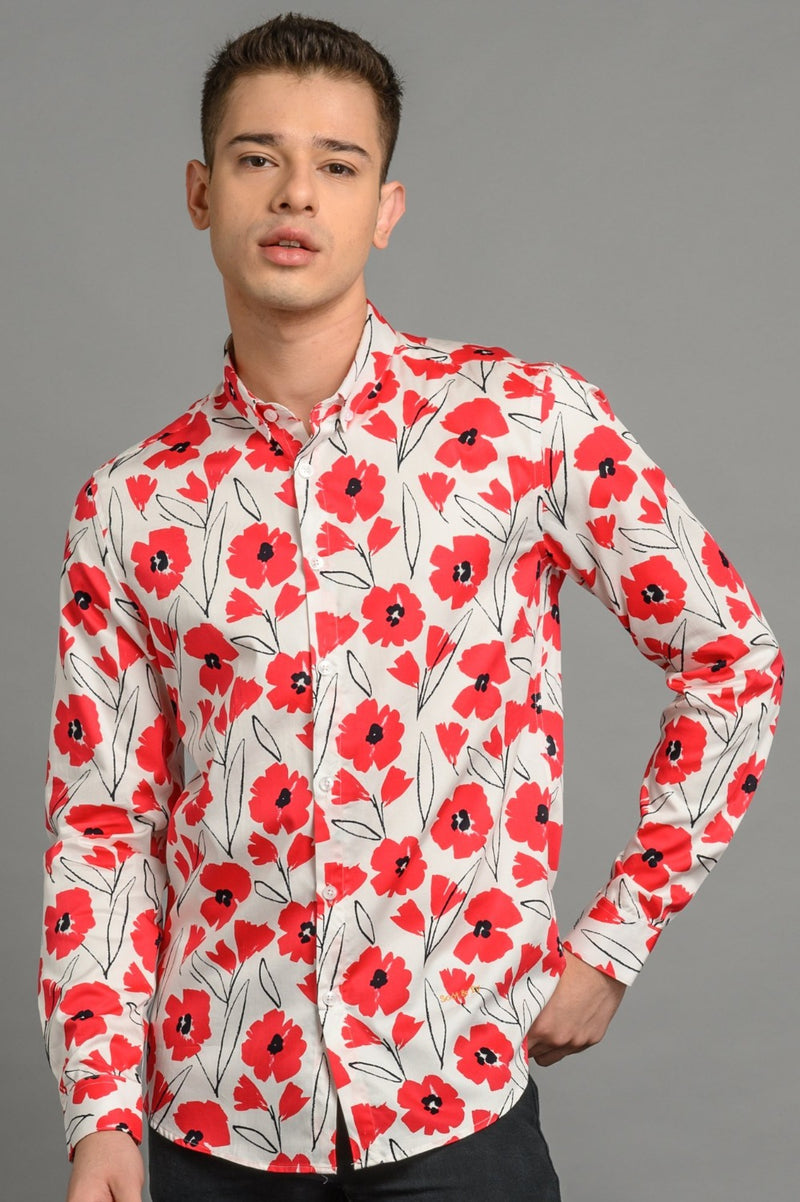 Poppies Print Slim Fit Shirt Red