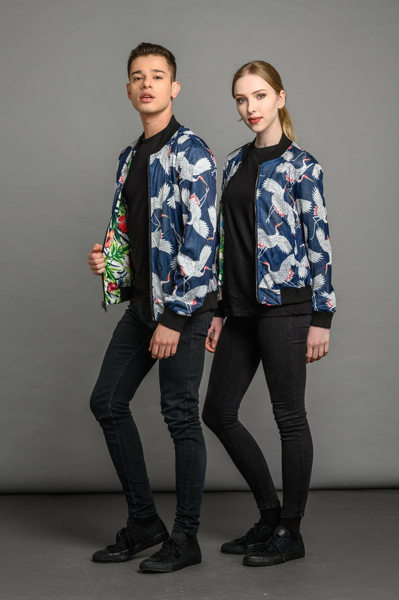 Reversible Tropical Floral Black/Crane Bomber Jacket